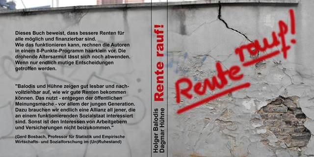 """Vorder- und Rückseite des Buches """"Rente Rauf!"""" von Holger Balodis und Dagmar Hühne"""